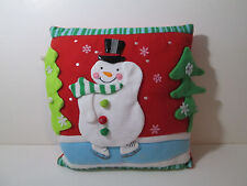 "Snowman Plush Throw Pillow 13""x13"" Holiday Decoration"