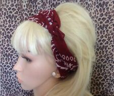 Borgogna Paisley Cotton Bandana Testa Collo Sciarpa per capelli Retrò Rockabilly 50s Pin Up