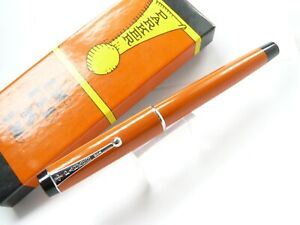 PARKER  BIG RED ORANGE CHROME TRIM ROLLER BALL PEN WITH ORIGINAL BOX  USA MADE