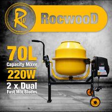 Electric Cement Mixer 70l Litre 220w Concrete Rocwood Drum Mortar Plaster