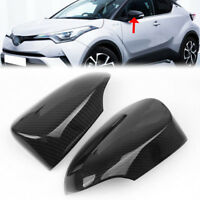 Carbon Fiber Style Side Rear View Mirror Cover Cap For Toyota CHR C-HR 2016-2018