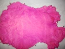 "Large HOT PINK / Fuchsia Rabbit Fur Pelt Hide 9""x15""     #3813"