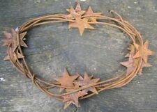 """2 Pack of Primitive 2"""" Rusty Tin Stars 6 feet Garlands 72"""" Rustic Flexible Wire"""