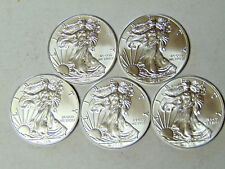 Set of 5 American Silver Eagles 2014 2015 2016 2017 2018 Silver Dollars BU Coins