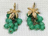 Rare VTG Signed Marcel Boucher Gold Tone Leaves Jade Color Stone Grape Earrings