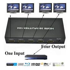 4 WAY HD hub 1080p 1 x 4 HDMI 3D Splitter Amplifier Bypasses HDCP