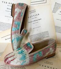 NIB Anthropologie Artemis tan turquoise Tribal Print Silk Velvet Loafer 36/5-5.5