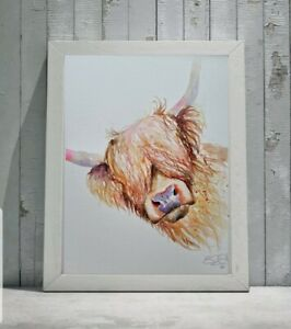 New large original signed contemporary watercolour art painting Highland Cow