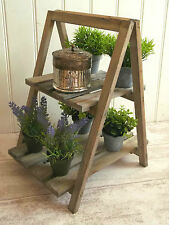 Shabby Chic Rustic Wood Folding Display Stand Shelf Unit Plants Shops Florists