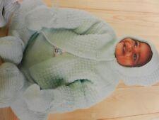 "Knitting Pattern Baby Girl Boy Coat Leggings Hat Mittens 4 Ply 18-20"""