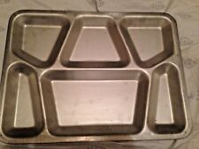 GI Issue Military Stainless Steel Mess Hall Food Tray 6 Compartment NOS !!!