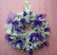 "Handmade White & Purple Upcycled Fabric Wreath 11"" Scrap Cute Spring"