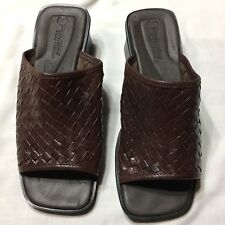 Montego Bay Club Brown Leather Sandals 8.5 W Womens Summer Slip Ons