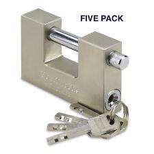 HEAVY DUTY STEEL CONTAINER/SHUTTER PADLOCK 90MM WTH 4 KEYS (5 PACK)