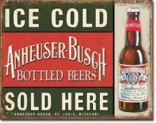Anheuser Busch Bud Budweiser Bottled Ice Cold Beers Sold Retro Metal Tin Sign