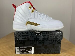 Men's Nike Air Jordan 12 XII Retro FIBA White University Red Size 8.5 130690-107