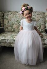 Pink Peach Flutter Sleeve Long Layered Tutu Bohemian Flower Girl Occasion Dress