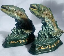 Vintage Wright Studios 2 Fish Trout Cast Iron Door Stop Bookends Fishing Decor
