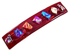 """Dichroic Hair Barrette 3.5"""" 9cm Ruby Red Fused GLASS Pink Blue Gold Shards Chips"""