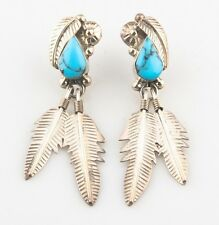 Sterling Silver Feather Earrings Taxco Mexico Turquoise &