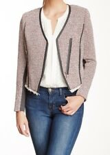 Rebecca Taylor Cutaway Tweed Jacket Leather Trim Frayed Hem Red Combo Size 6