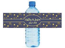 Glowing Stars Blue background Wedding Anniversary Birthday Water Bottle Labels