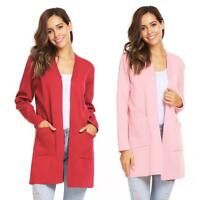 Women Long Sleeve Knitting Front Open Long Cardigan Solid Loose Sweater EH7E