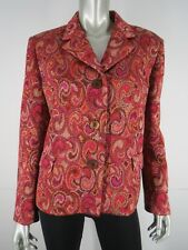New Missoni Jacket Size 10 46 Metallic Paisley Red Multi Button Down Blazer Coat