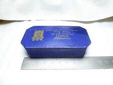 antike Schachtel Uhrenschachtel Pappe ANKRA blau Velur 9 x 4,5 x 2,2 cm / 20,4 g