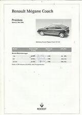 Prospetto RENAULT MEGANE COACH 1996 listino prezzi