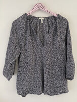 $298 Joie Coralee Blouse Top Printed Back White 3/4 Sleeve V-neck Silk Size S