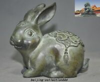 China Feng Shui bronze auspicious lucky wealth Zodiac animal Rabbit hare statue