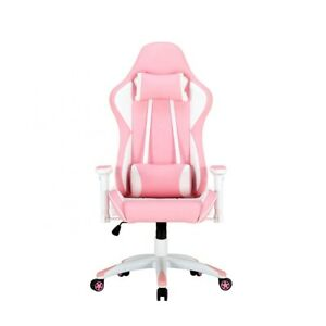 Gaming Office Chair Adjustable With Footrest Chair Home Rose White Racing Chair