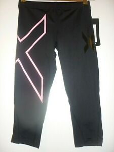 Black pink cropped compression tights by 2XU size XS BNWT
