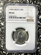 1960 Greece 20 Drachmai NGC MS64 Lot#PJ487 Silver! Nice UNC!