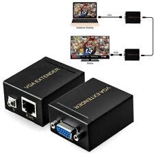 RJ45 To VGA Network Signal Extender Sender CAT5e/6 Transmitter +Receiver Adapter