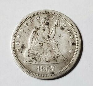 1857 Philadelphia Mint Silver Seated Liberty Quarter - Fine Detail US Coin lot C