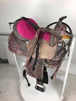 "16"" Western Leather Barrel Pleasure Trail Black Pink Horse Saddle Set Tack"