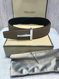 Authentic Tom Ford brown black leather reversible T-buckle logo belt