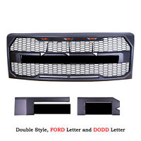 Grey Front Grilles Replacement for 09-14 Ford F150 Raptor Style w/ Letter&Lights