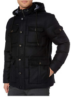 Buttoned Down Mens Water Repellant Goose Down And Italian Wool Black Parka