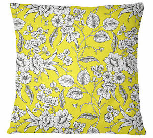 S4Sassy Home Decorative Yellow Cushion Cover Floral Print Pillow-19u