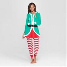Nwt Woman's Hooded Union Suit - Size Xs/S - Elf Zip Up - Bell Holiday Christmas
