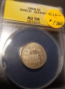 1868 Certified Shield Nickel AU58 C162