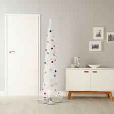6FT LED Pre-lit Pre-decorated Christmas Tree Pop-up Slim Stylish White