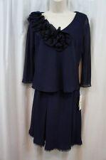 S.L. Fashions Petite Top & Skirt Set Sz 8P Navy Blue Chiffon Ruffle Evening Wear