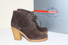 New  sz 8 / 38 PRADA Lace Up Brown Suede Ankle Boot  Heel Womens Shoes