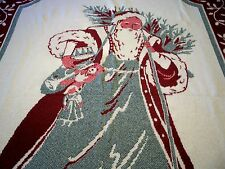 Cotton Tapestry Woven Jacquard Afghan Throw FATHER CHRISTMAS