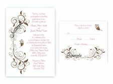 100 Personalized Custom Scroll Butterfly Bridal Wedding Invitations Set