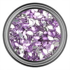 Light Purple Oval Rhinestone Gems Flat Back Face Art Nail Art Scrapbook Phone